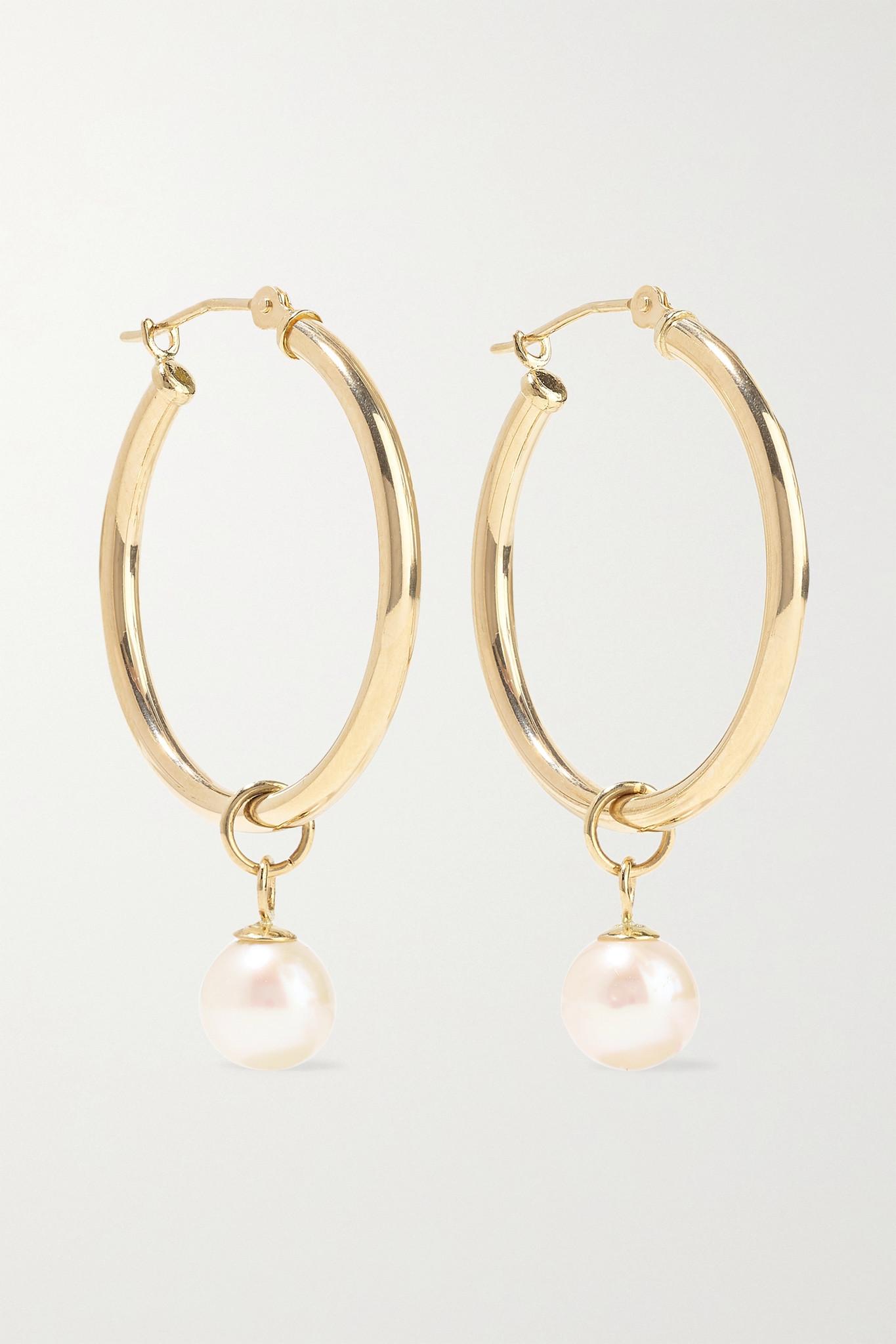 MATEO - 14-karat Gold Pearl Hoop Earrings - one size