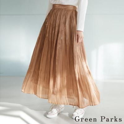 Green Parks 光澤緞面飄逸百褶長裙