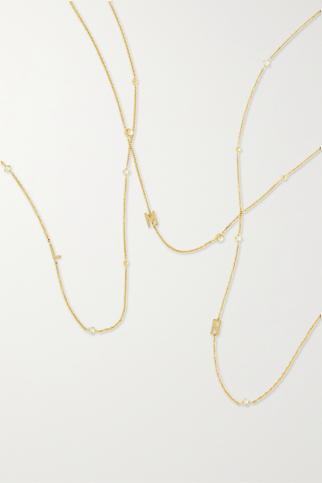 STONE AND STRAND - Initial 14-karat Gold Pearl Necklace - F