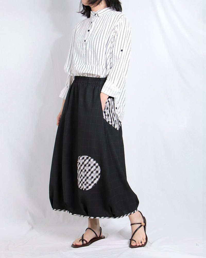 黑格紋 - 拼接蓬裙#A6042