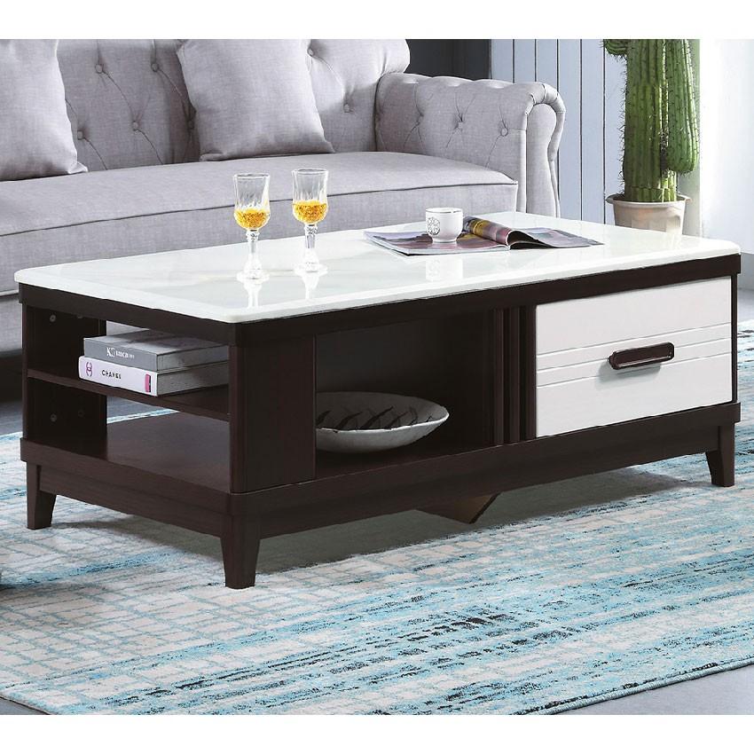 【130cm石面茶几-E372-4】實木原木玻璃 大理石長方桌 大小邊几 圓桌 【金滿屋】