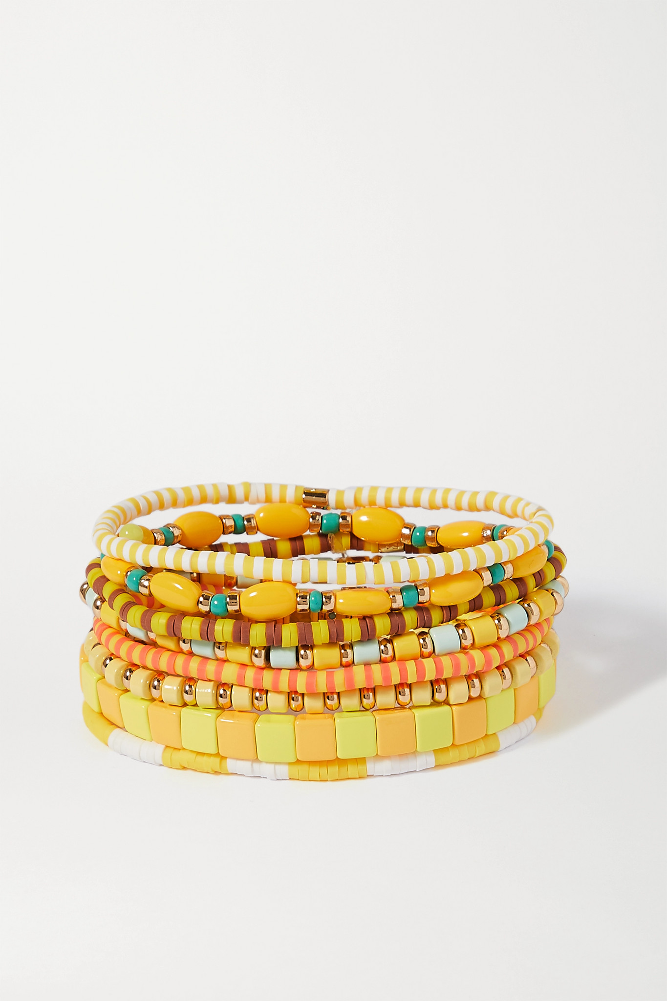 ROXANNE ASSOULIN - Colour Therapy Set Of Eight Enamel And Gold-tone Bracelets - Yellow - one size