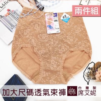 席艾妮SHIANEY 台灣製造(2件組) 2XL-4XL 超加大尺碼 透氣網孔布 束褲 (膚色)