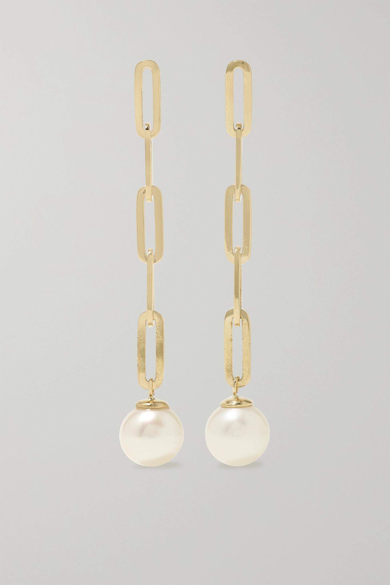MATEO - 14-karat Gold Pearl Earrings - one size