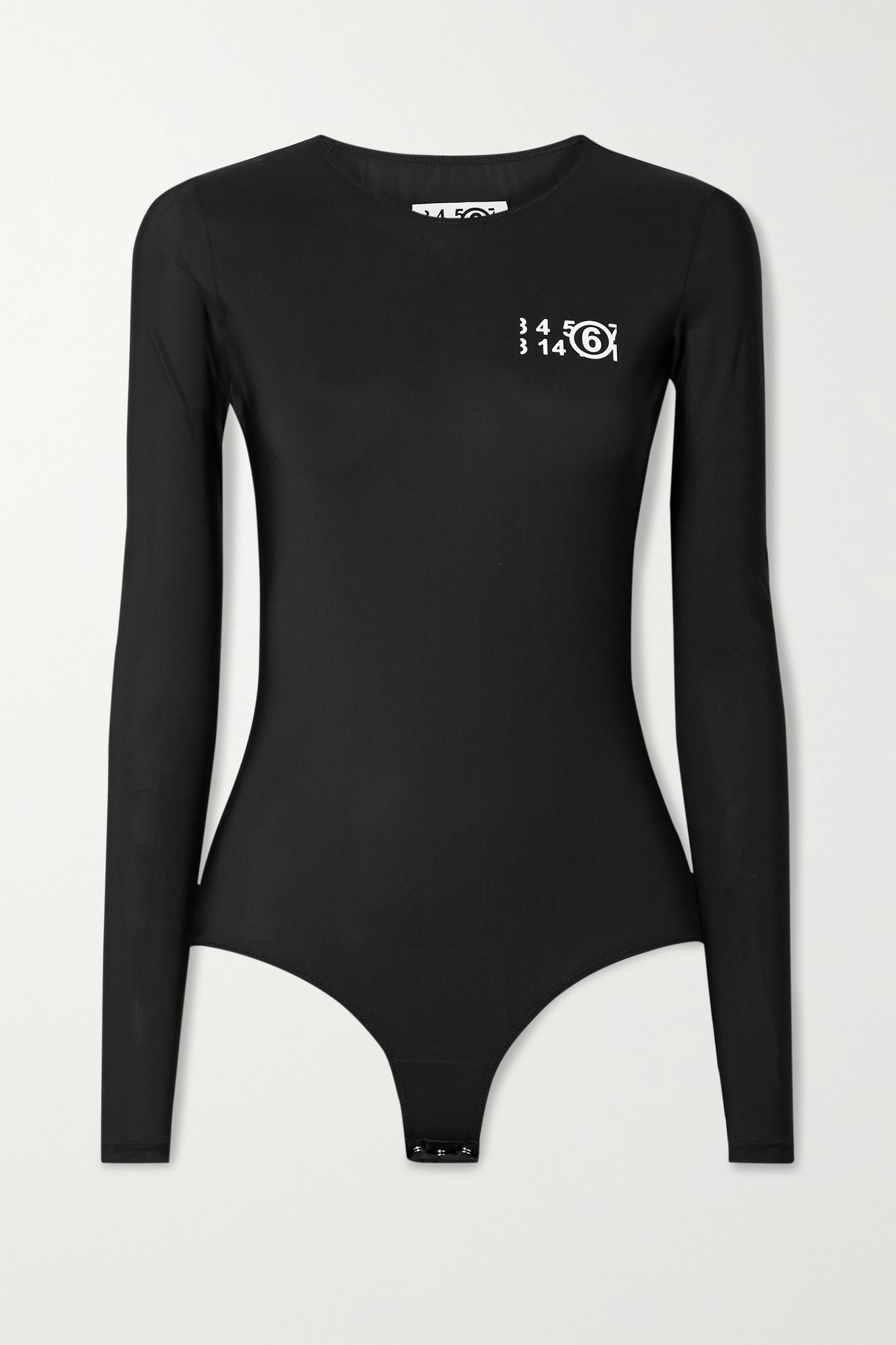 MM6 MAISON MARGIELA - Printed Stretch-jersey Bodysuit - Black - small