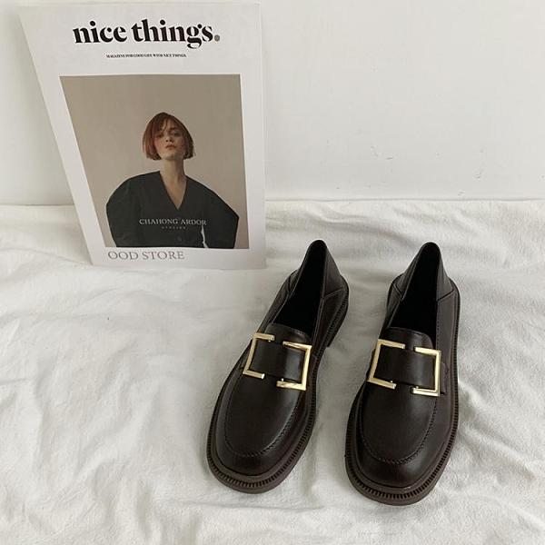 方扣小皮鞋女學生韓版百搭復古英倫風2021年新款春季一腳蹬樂福鞋 伊蘿