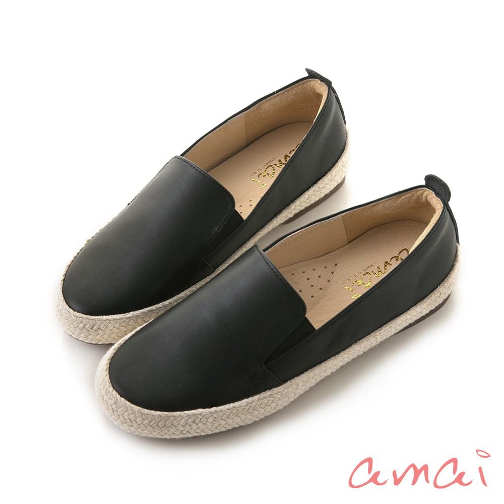 amai MIT台灣製造。全真皮麻棉拼接內增高懶人鞋 黑 HM-23BK