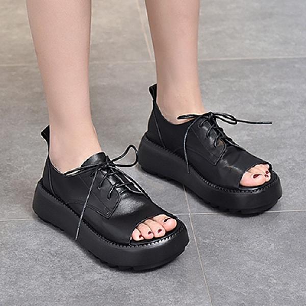 魚嘴厚底涼鞋 真皮手工女鞋 系帶坡跟休閒鞋/3色-夢想家-標準碼-0311