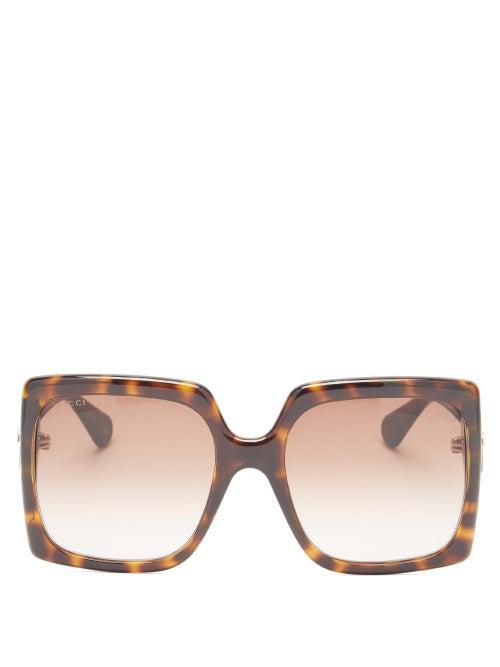 Gucci - GG-logo Oversized Square Acetate Sunglasses - Womens - Tortoiseshell
