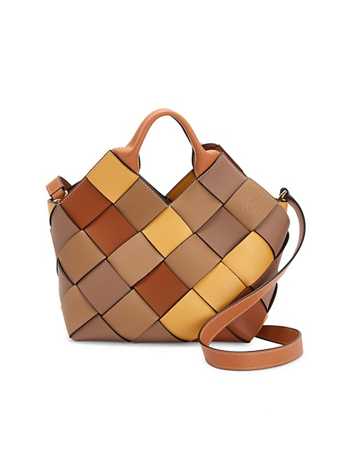 Small Basket Woven Leather Tote