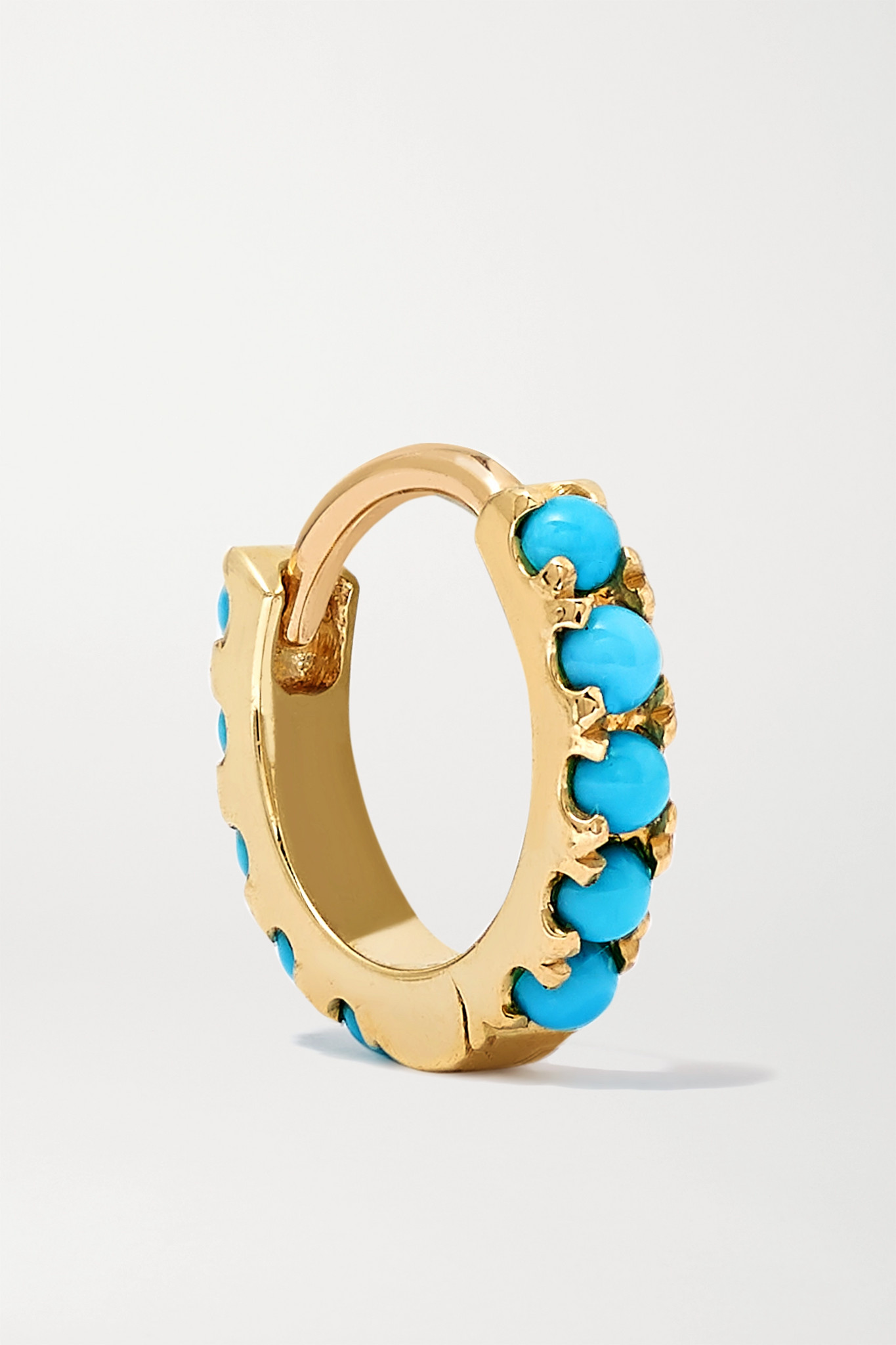 MARIA TASH - 6.5mm 14-karat Gold Turquoise Hoop Earring - one size