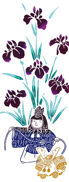 【日本製】【和布華】 日本製 注染拭手巾 菖蒲花與孩子圖案 SD-4965 - 和布華