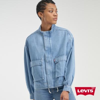 Levis 女款 工裝牛仔外套 / 復古大口袋設計 / 下擺抽繩 / 創新棉化寒麻纖維
