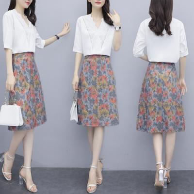 氣質花邊領小衫搭配印花花魅力中裙套裝L-5XL-KVOLL
