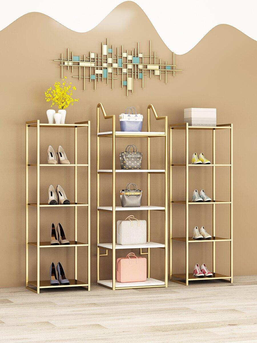 鞋店鞋架展示架服裝店鞋包架落地置物架創意鞋貨架多層包包架金色