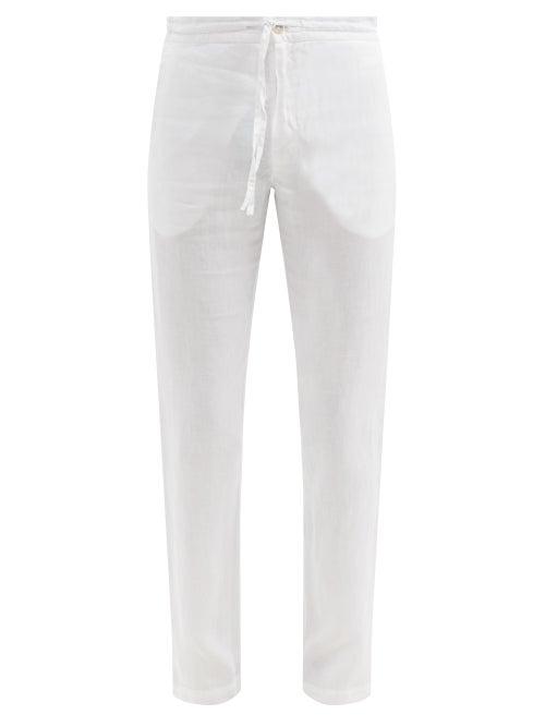 120% Lino - Drawstring Linen Straight-leg Trousers - Mens - White