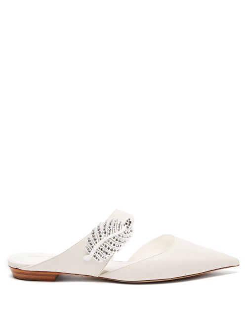 Nicholas Kirkwood - Monstera Crystal Leaf-embellished Leather Flats - Womens - White