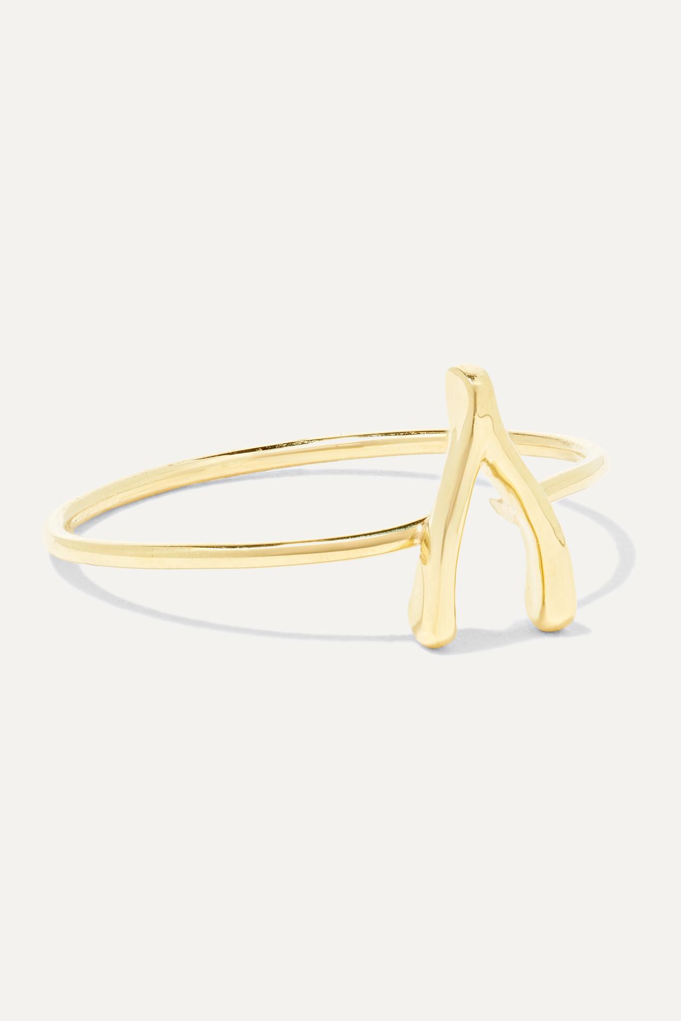 JENNIFER MEYER - Mini Wishbone 18-karat Gold Ring - 5