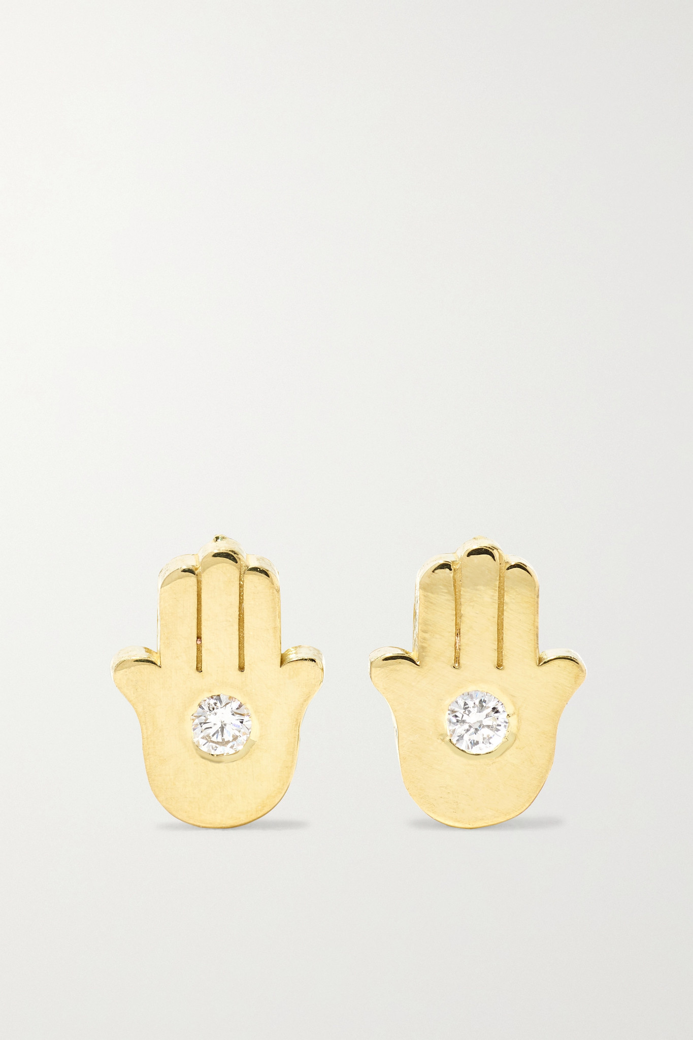 JENNIFER MEYER - Mini Hamsa 18k 黄金钻石耳钉 - 金色 - one size