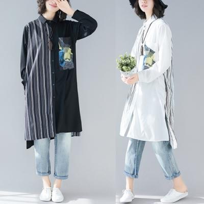 條紋拼接印花口袋長版襯衫-F(共二色)-Keer