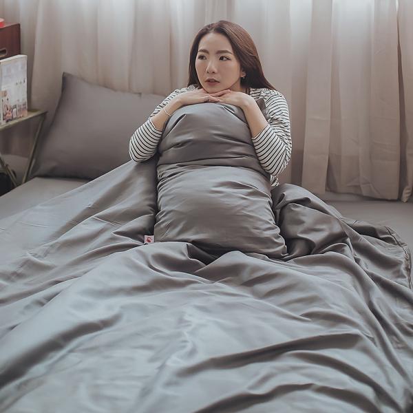 Life素色系列-紳士灰 雙人鋪棉兩用被乙件 100%精梳棉(60支) 台灣製 棉床本舖