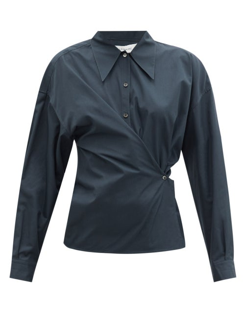 Lemaire - Gathered-side Cotton-poplin Shirt - Womens - Dark Blue