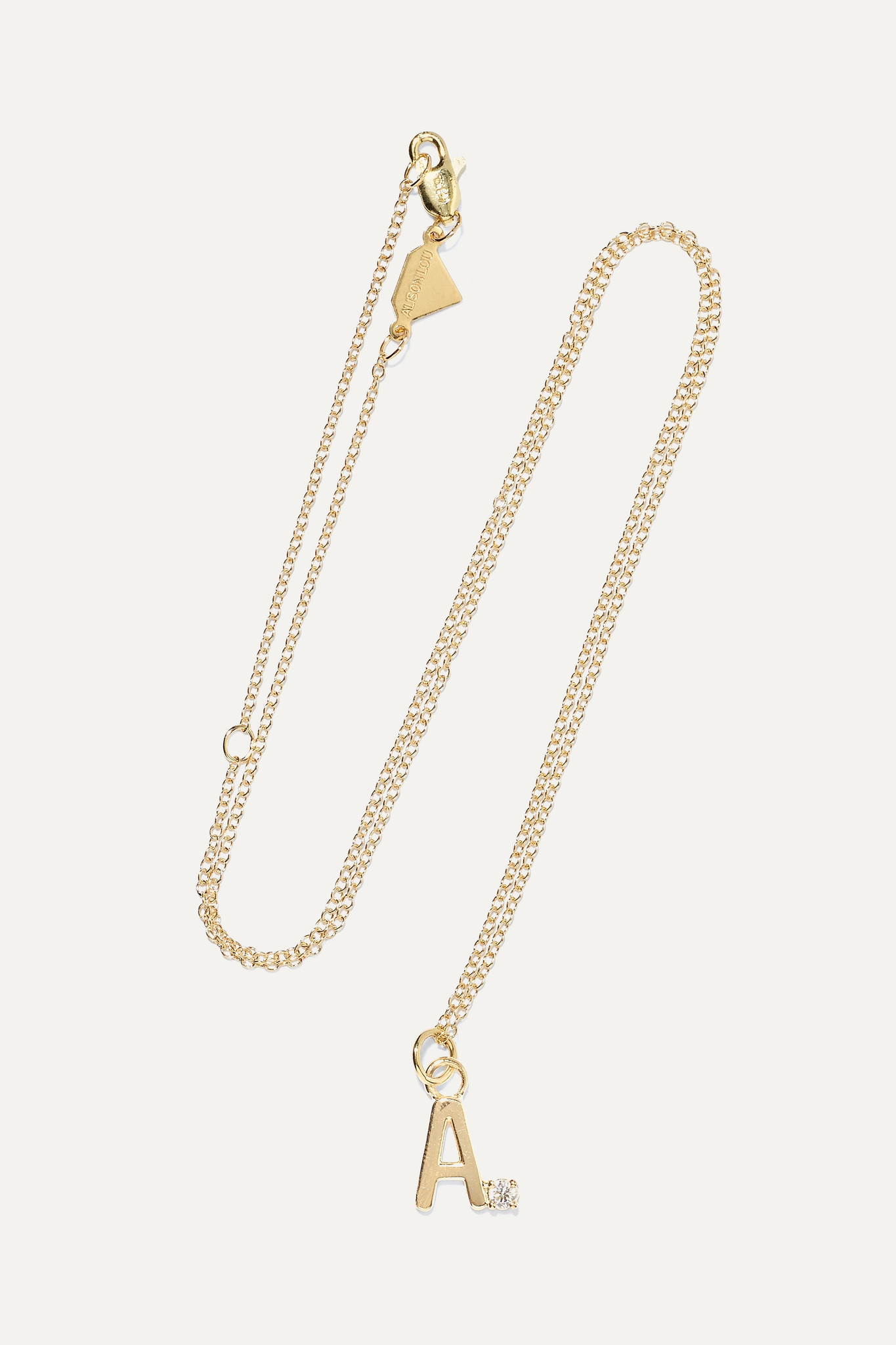 ALISON LOU - Letter 14-karat Gold Diamond Necklace - D