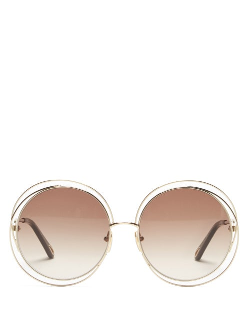 Chloé - Carlina Oversized Round Metal Sunglasses - Womens - Gold