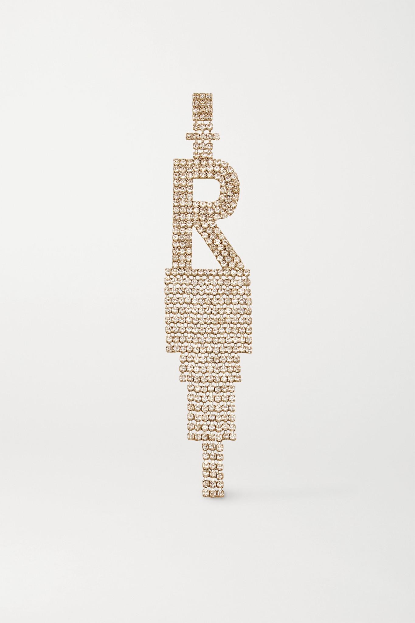 RETROFÊTE - Alphabet 水晶镀铑单只耳环 - 金色 - N