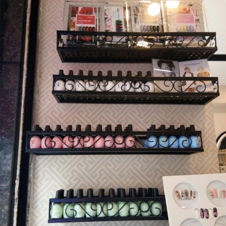 壁掛鐵藝超市貨架化妝品美甲架櫃展示架指甲油膠架子置物架WD