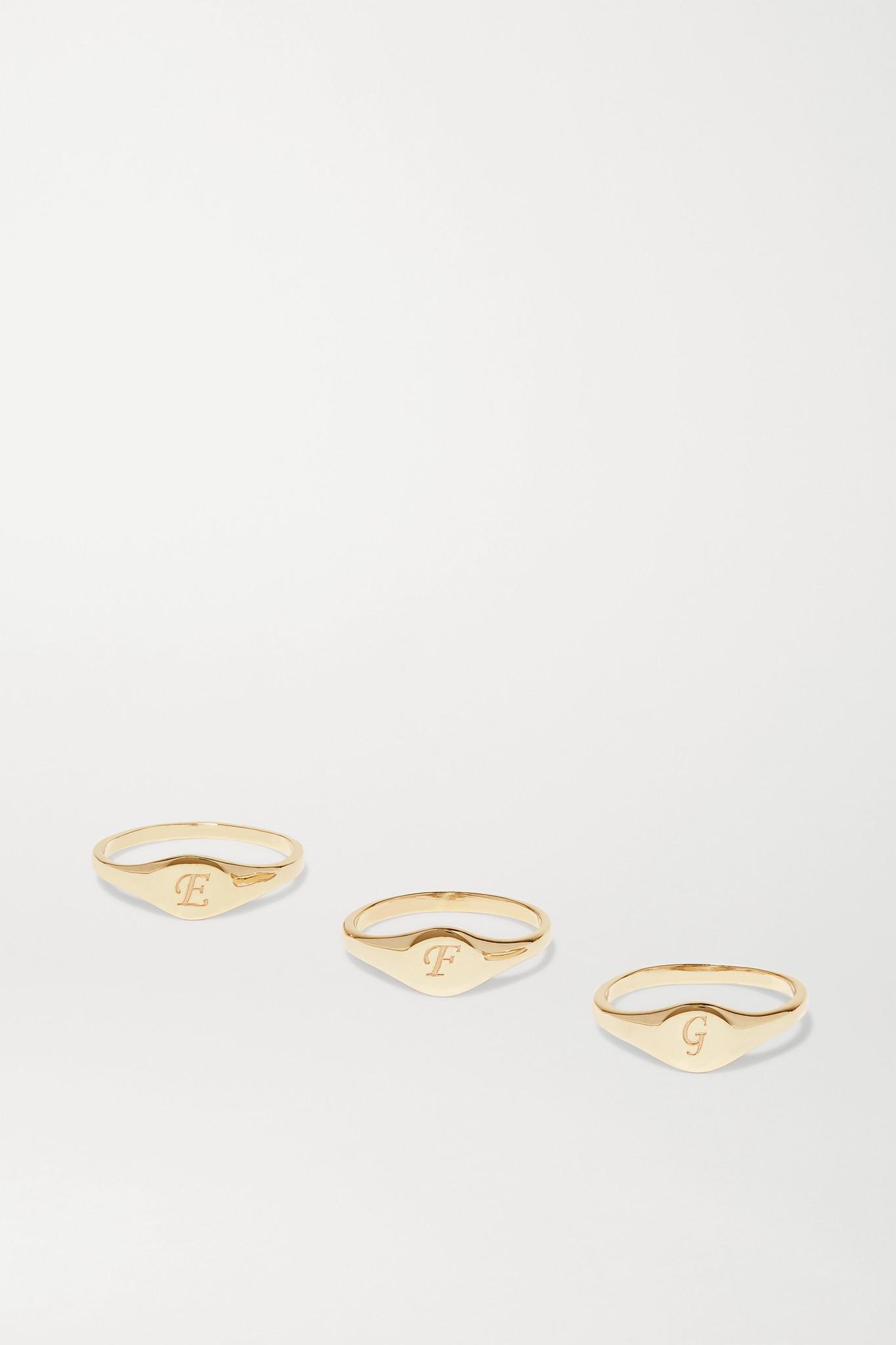 STONE AND STRAND - Alphabet Mini Pinky Gold Ring - J 3