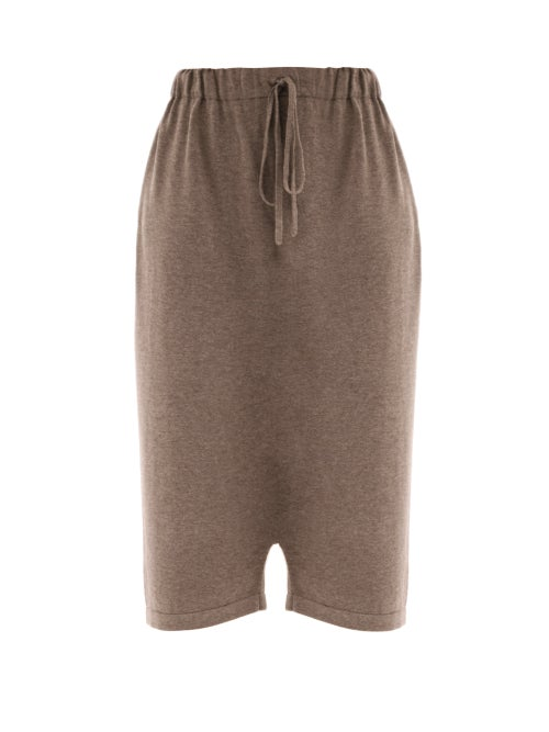 Lauren Manoogian - Playa Knitted Pima Cotton-blend Trousers - Womens - Brown Beige