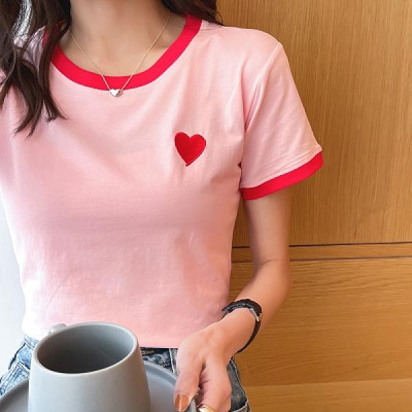 韓版T恤 短袖上衣棉學生打底衫女士小心機短袖圓領緊身t恤上衣夏裝T305韓衣裳