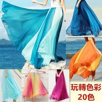 現貨 雪紡半身長裙洋裝連身裙14232/韓版馬卡龍糖果色仙女款波西米亞風長裙14233