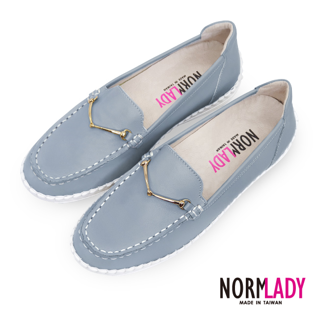 【Normlady 諾蕾蒂】品味馬銜釦樂福磁石內增高足弓支撐真皮氣墊球囊鞋-MIT手工鞋(天灰藍)