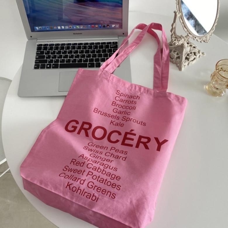 韓國空運 - Sweetie Pink Lettering Eco Bag 帆布包