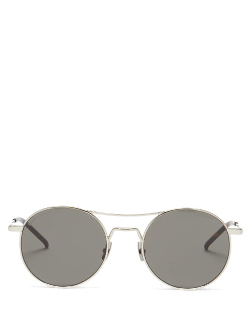 Saint Laurent - Aviator Metal Sunglasses - Mens - Grey
