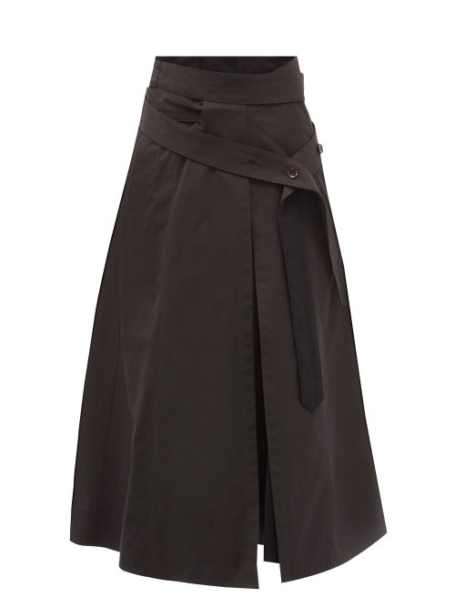 Lemaire - Belted Cotton-blend Canvas Midi Skirt - Womens - Black