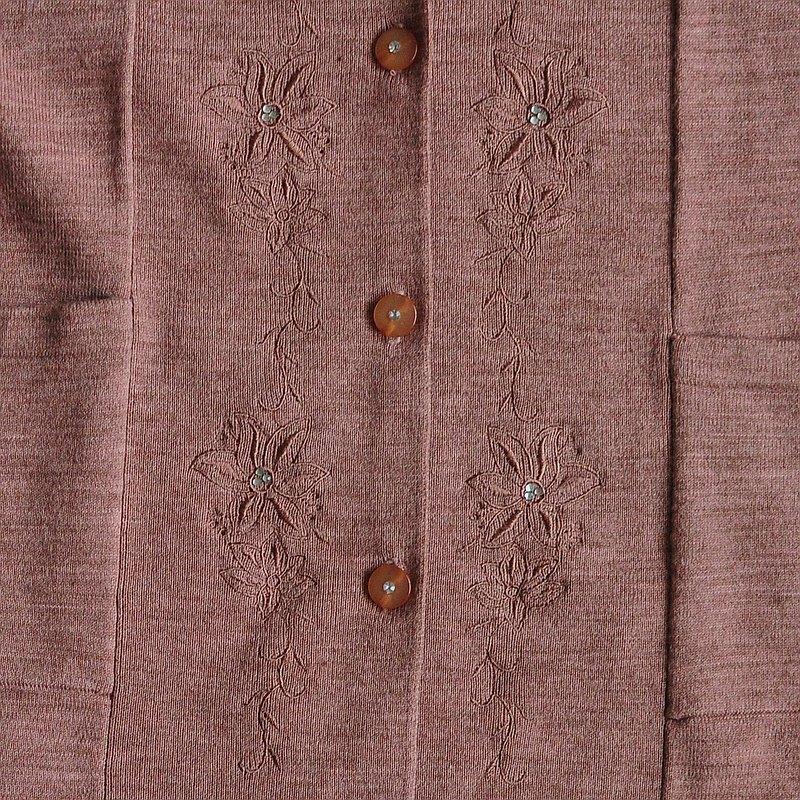 【蛋植物古着】昭和遊訪刺繡古著開襟針織外套