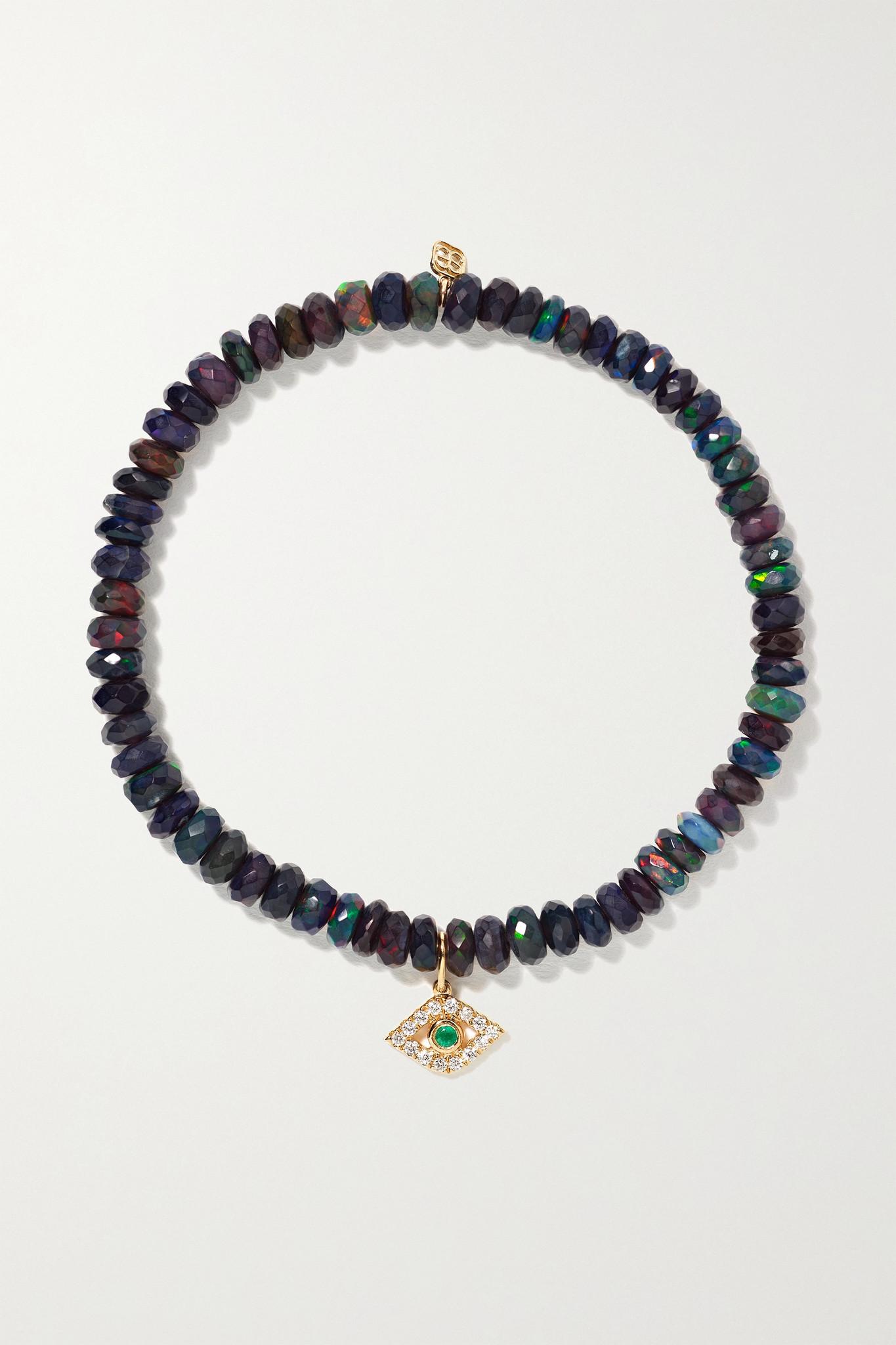 SYDNEY EVAN - Evil Eye 14-karat Gold Multi-stone Bracelet - Green - one size