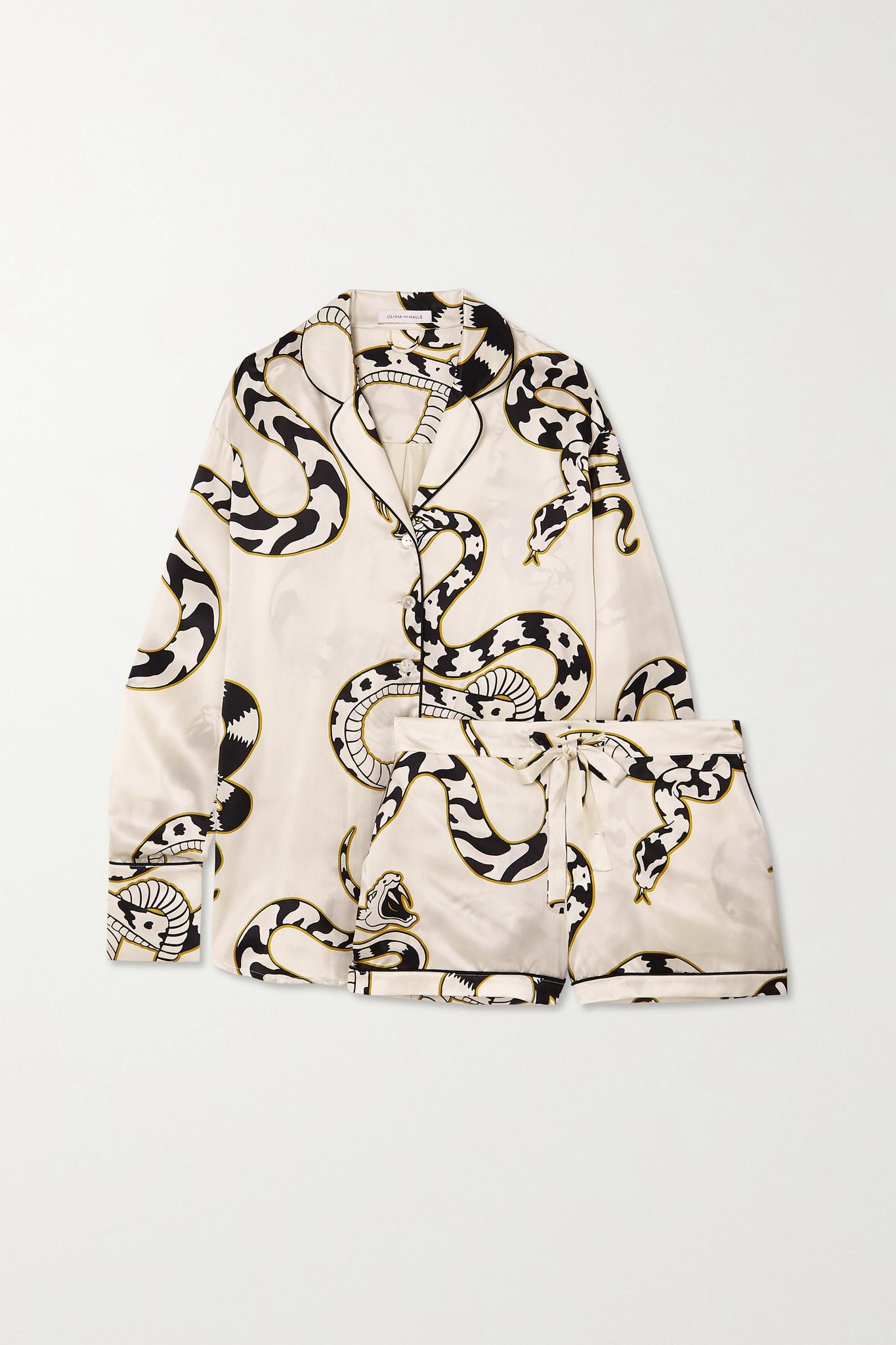 OLIVIA VON HALLE - Alba Printed Silk-satin Pajama Set - Ivory - medium