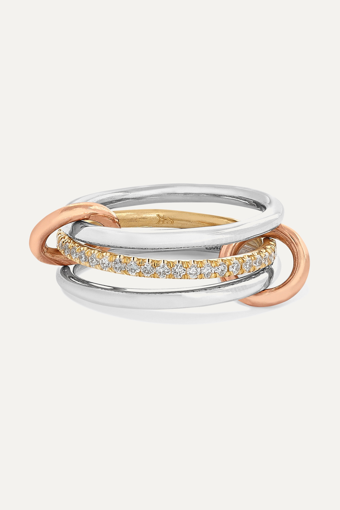 SPINELLI KILCOLLIN - Sonny Set Of Three 18-karat White, Yellow And Rose Gold Diamond Rings - White g