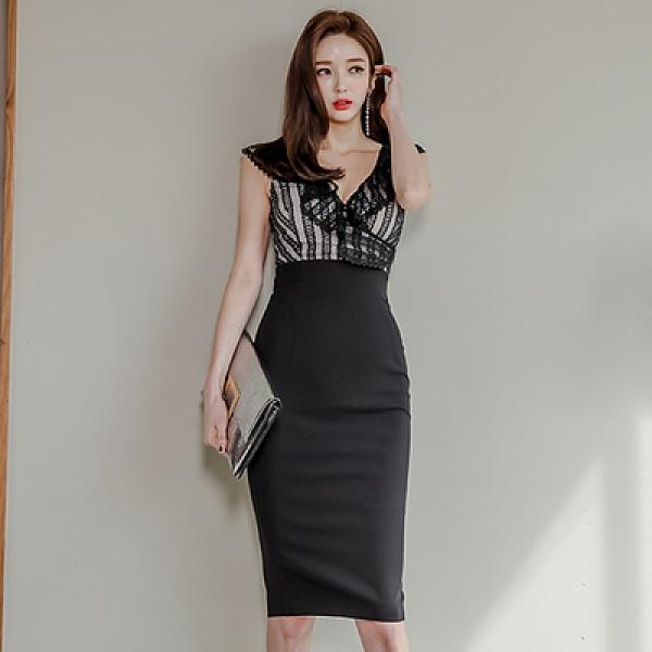OL洋裝 連身裙7931#夏裝新款韓版名媛氣質修身中長款V領拼接花邊包臀連身裙NE49快時尚