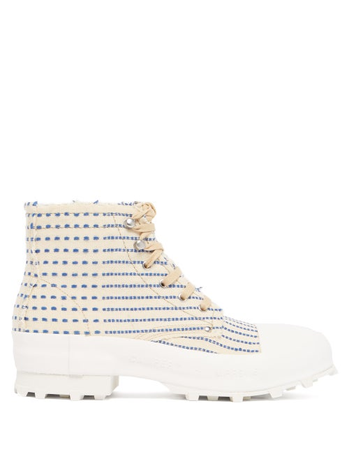 Camperlab - Traktori High-top Embroidered Canvas Trainers - Mens - White Multi