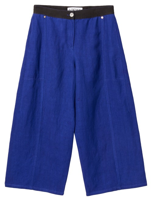 Loewe - Wide-leg Linen-blend Drill Culottes - Womens - Blue