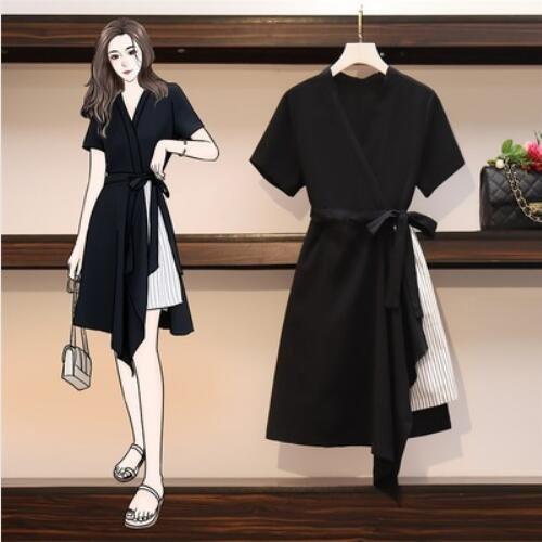 洋裝 連身裙 中大尺碼M-4XL大碼微胖顯瘦氣質裙子5F012.-9906.胖胖美依