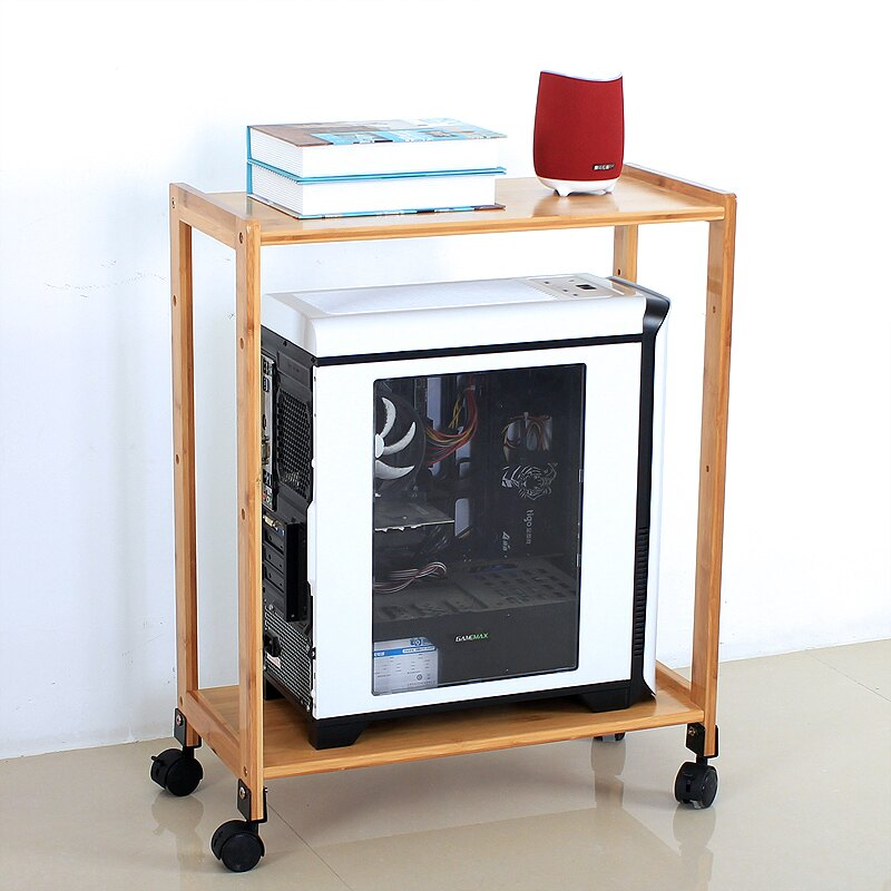 南竹山電腦主機架托架機箱架置物架帶滑輪落地多層移動收納架竹質