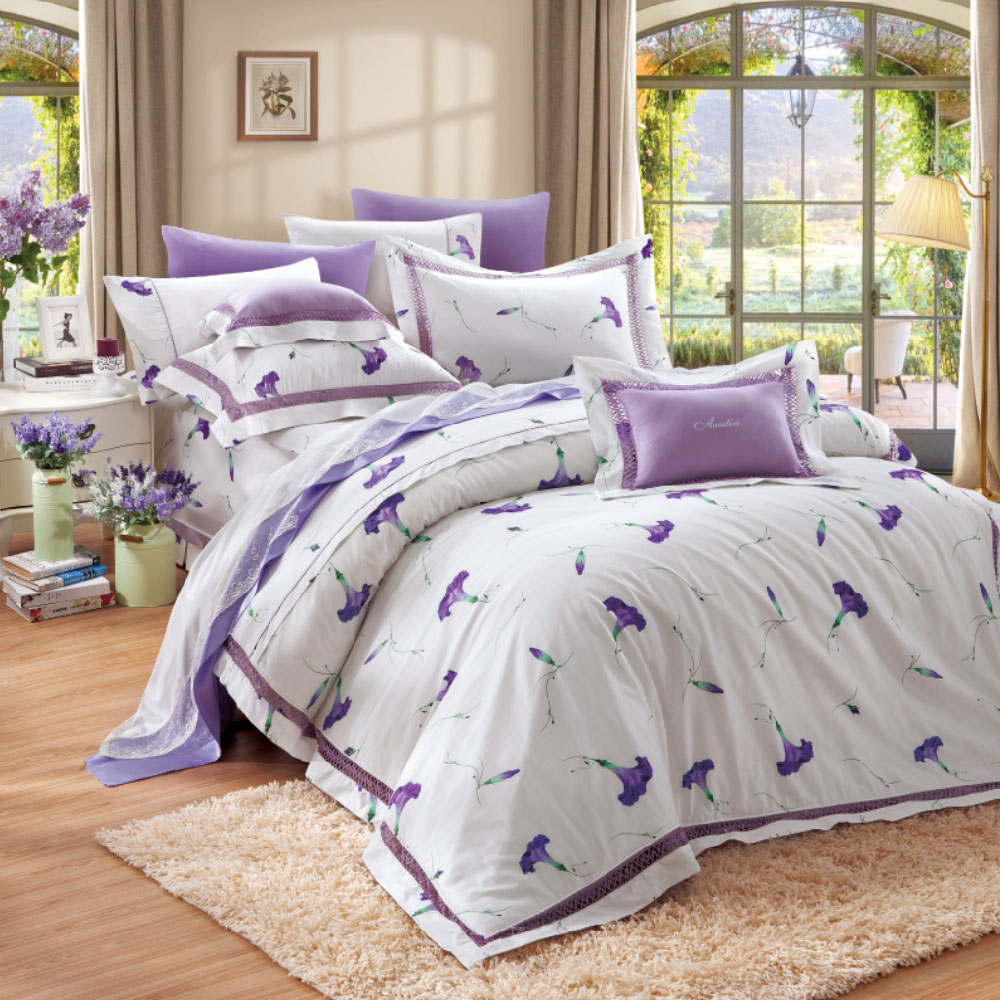 奧斯汀《絲棉雙享》晨光-兩用被床包四件組(含奈米陶瓷)