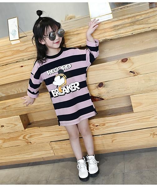 衣童趣(•‿•)韓版 中小女童 暢銷熱賣款 條紋卡通連身裙 長版上衣【現貨】