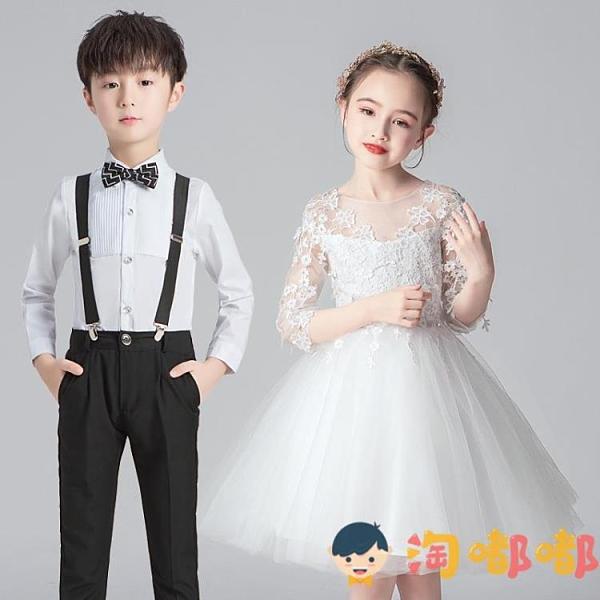 花童婚禮男女孩禮服公主裙春秋兒童合唱演出服男童西裝【淘嘟嘟】